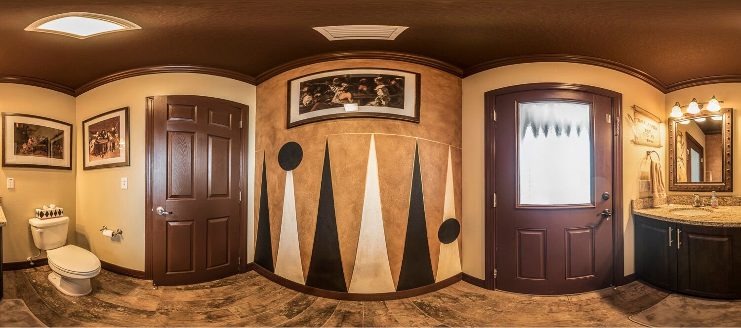backgammon themed bathroom