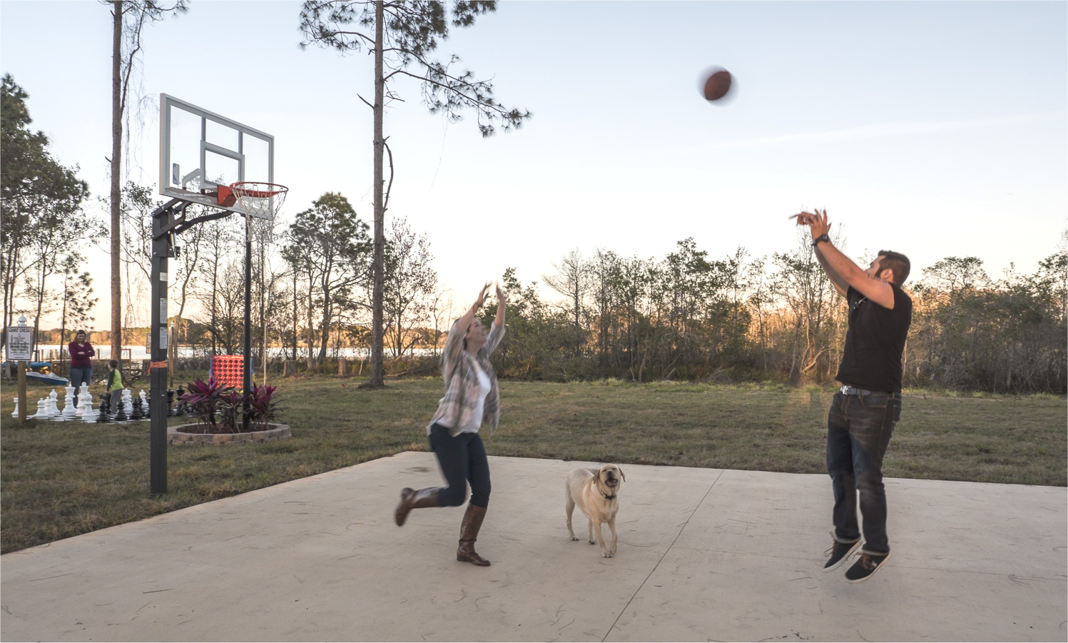 The basketball court at The Great Escape Lakeside Vacation Rental Home near Orlando, FL and Disney World