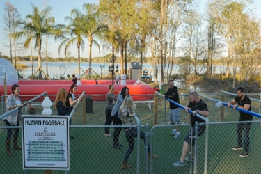 Human foosball at a vacation rental home near Orlando, Florida