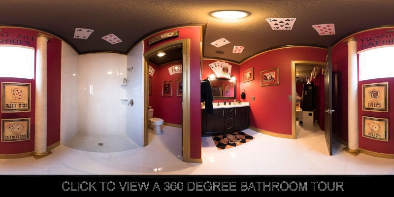 "Vegas themed ""royal flush"" bathroom at The Great Escape Lakeside vacation rental home near Orlando, Florida"