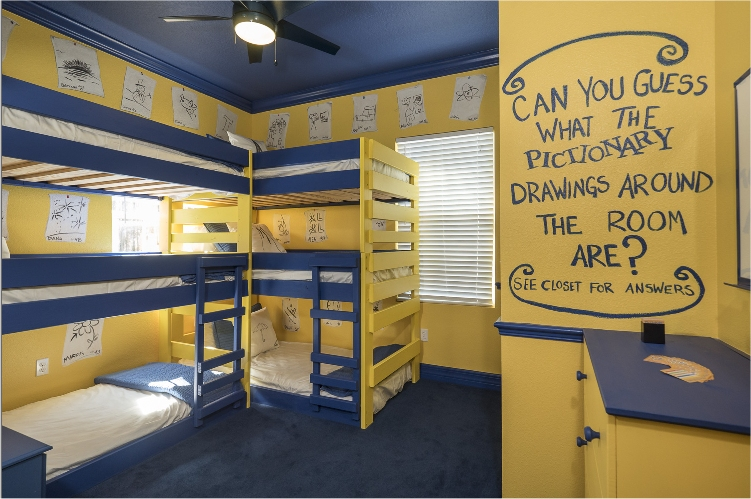 A Pictionary-Themed Bedroom at a Florida Luxury Vacation Rental for Family Reunions