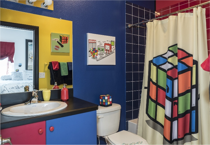 Rubik Cube Bathroom of the Mind Games Room at The Great Escape Lakeside - An Orlando, Florida area luxury vacation rental home