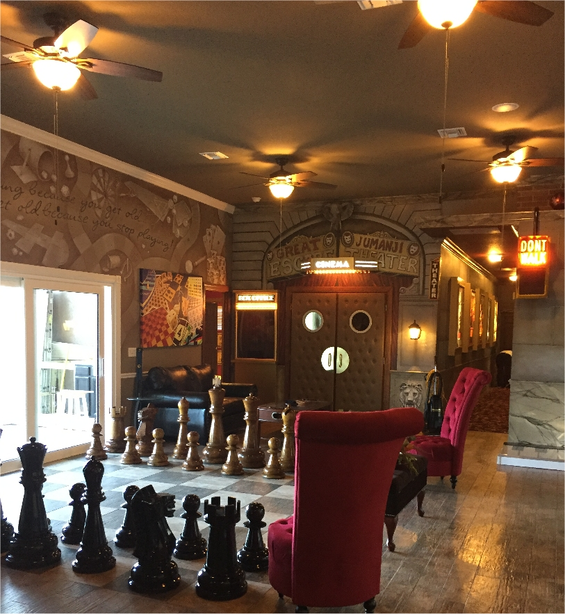 The formal living room of The Great Escape Lakeside - with giant chess