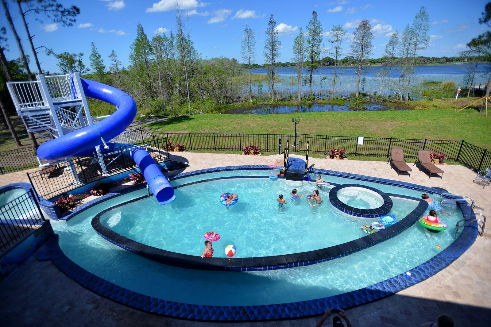 Pool with lazy river and waterslide at the great escape for Good swimming pools